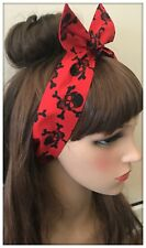 Hair Headband Bandana Red Skull Crossbones Fabric Bow Pirate Headscarf Party