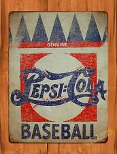 "TIN SIGN ""Pepsi Cola Baseball"" Vintage Soda Ad Garage Alcohol"
