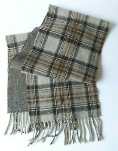 Polo Ralph Lauren Mens Brown Reversible Driver Wool Blend Scarf One Size $58