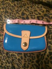Blue patent leather Dooney And Bourke flap wristlet Wallet Purse