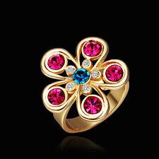 Band Ring Size 8 B117 18K Gold Blue Pink Zirconia Flower
