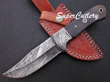 "9"" New Custom Handmade Damascus Knife Damascus Bolster and Buffalo Horn"