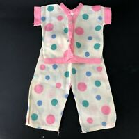 Vintage Homemade Doll Polka Dot Pajamas Clothing Accessories Pink Blue SET