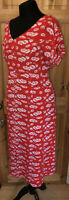 Joe Browns Sizzling Summer Tea Dress Size 18 Red Floral Midi Button Down Summer