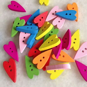 DIY 100pcs Mixed Color Heart shape 2 hole Resin Sewing Buttons Crafts Znk004