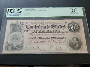 PCGS VF 25 1864 500 Confederate  States  Of America  Note (T64)