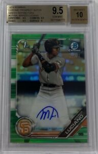 2019 Bowman Chrome Marco Luciano Green Refractor Rookie RC /99 BGS 9.5 Auto 10