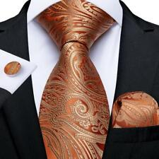 USA Orange Gold Silk Tie Set Paisley Mens Necktie Pocket Square Cufflinks Party