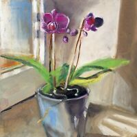 Purple orchid near window Oil painting signed 8x10 in 20x24cm Still Life Realism