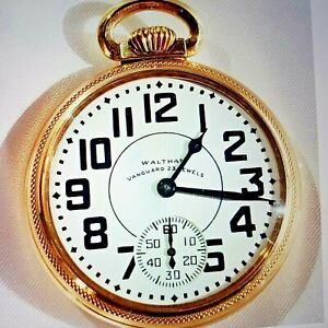 WALTHAM VANGUARD Vintage RR-Grade Pocket Watch 16s 23j 8-Adj -1944 Mint Cond.