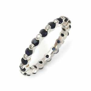 1.1 ctw Natural Sapphire & Diamond Solid 14k White Gold Eternity Ring, Size 5.5