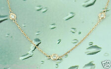 0.80ct 14k Solid Rose Gold Natural Necklace Diamond By The Yard 18inch 10station