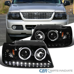 For 02-05 Ford Explorer Black LED Dual Halo Projector Headlights Head Lamps Pair