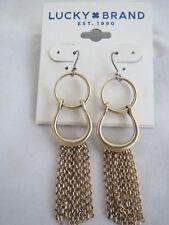 Lucky Brand gold tone fringe dangle earrings, NWT