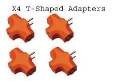 Pack of 4 Tri T- Shaped 3 way Adapter with Heavy Duty Orange Safety Plastic