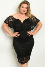 Womens Plus Size Black Lace Overlay Cocktail Dress 3X Cold Shoulder Bodycon