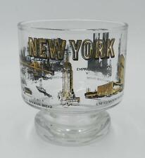 Vintage New York City Skyline Twin Towers Gold Design Whiskey Glass