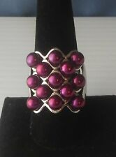 .925 Sterling Silver Ring with Dyed Pearls? Stones Size 10