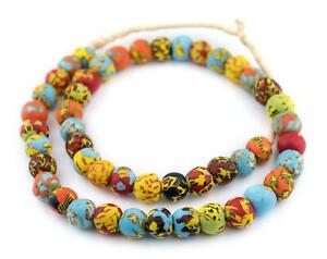 House Medley Round Fused Recycled Glass Beads 14mm Ghana African Multicolor
