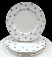 """ROYAL ALBERT 4PC STAR OF EVE PLATINUM RIM TEAL STAR 10 1/4"""" DINNER PLATES"""