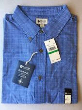 NWT Haggar Mens Weekender S/S Button Front Shirt-Misty Blue-Lg-MSRP-$50