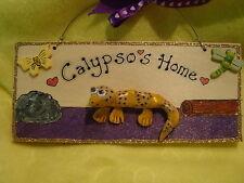 Leopardo personalizzato Gecko Lucertola Rettile Terrario House Sign Targa Terrario