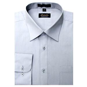 Mens Dress Shirt Plain Silver Modern Fit Wrinkle-Free Cotton Blend Amanti