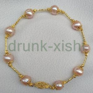 """Adorable 7-8mm AAA South Sea Pink Pearl Station Bracelet 7.5-8"""" 14k Gold P Clasp"""