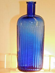 ANTIQUE COBALT BLUE OVAL 8 OZ PICKET FENCE NTBT POISON RARE OLD BOTTLE 1890's