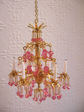 dollhouse doll house miniature CRYSTAL CHANDELIER LAMP ROSE