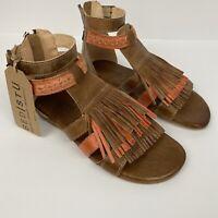 BED STU Alena Gladiator Sandals Fringe Boho Leather Tan Sz 6 NEW T5/6