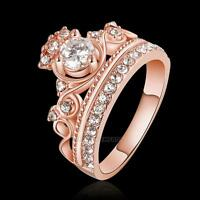 Fashion Women Ladies 18K Rose Gold Crystal Crown Ring Copper and Silver Plated