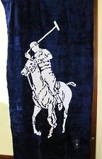 Polo Ralph Lauren Lauren Big Pony Reversable Beach Towel Navy White Cotton NWT