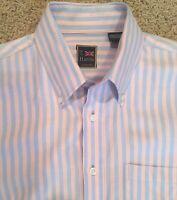 T. Harris London Men's Shirt Pink & Blue Striped Button Down for Spring M - EUC