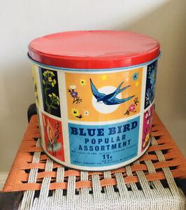 Very Large Vintage/Retro Blue Bird Toffees Tin - Shop Display - TV & Film Prop