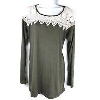 New Umgee USA Crochet Lace Insert Tunic Top Olive Green Womens Size Medium