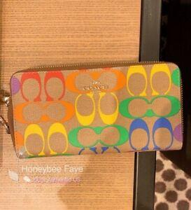 NWT Coach Pride Long Zip Around Wallet In Rainbow Signature Canvas