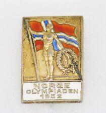 RARE Vintage AKSEL HOLMSEN 1932 OLYMPIC Gold 830 Silver Enamel NORWAY Stick Pin