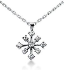 14 KT WHITE GOLD  WITH 0.56 CT DIAMOND SNOW FLAKE PENDANT WITH 16 INCH CHAIN