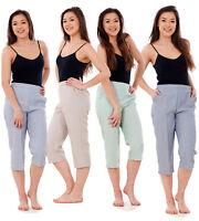 Plus Womens Ladies CROP Trousers Casual ¾ Long Pocket Half Elastic Summer Shorts