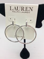 $38 Ralph Lauren silver tone polished door knocker drop  earrings RL21A