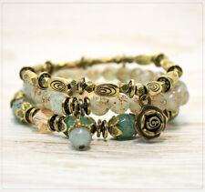 3er Set Damen Armband Damenschmuck dehnbar Perlen Glasperlen Metallperlen Türkis