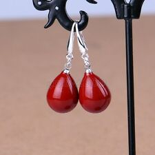 New 12x16mm Coral Red South Sea Shell Pearl Waterdrop Silver Earrings