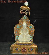 Tibet Buddhism crystal silver Filigree inlay turquoise sakyamuni Buddha statue