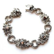 ABALONE SHELL Stones CHUNKY BRACELET & Marcasite .925 STERLING SILVER (7.5-in)