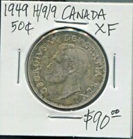 CANADA - FANTASTIC HISTORICAL GEORGE VI SILVER 50 CENTS, 1949-HOOF OVER 9, KM#45