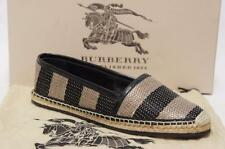BURBERRY HODGESON WOVEN RAFFIA ESPADRILLE FLAT SHOES 36/5.5 $$395