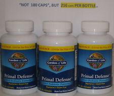 "(3) PRIMAL DEFENSE GARDEN OF LIFE,216 CAPS ""NOT 180ct, PROBIOTIC, CANDIDA, FLORA"