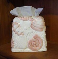 NEW COVE SHELLS CERAMIC BATHROOM TISSUE BOX COVER HOLDER SEASHELLS