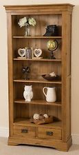 French Rustic Solid Oak Large Bookcase Book Shelf 2 Drawers Display Cabinet Unit